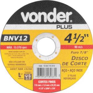 Disco de Corte BNV12 115x1,0x22,23 – 4.1/2 - Vonder