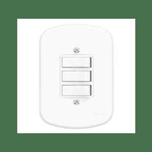 3 Interruptores Simples 4x2 10A 250V blanc fame